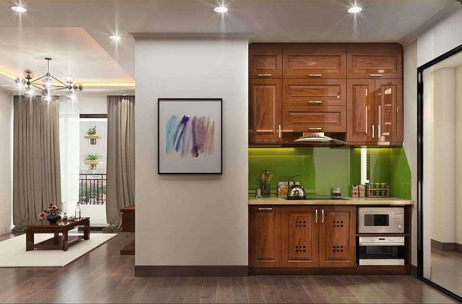 phòng bếp 2 gỗ sồi