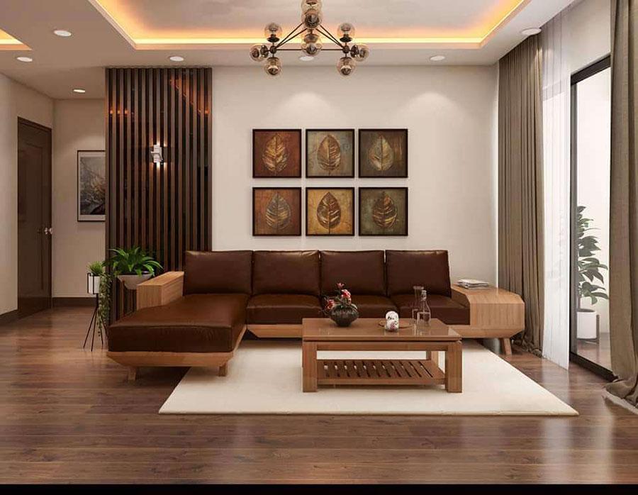 phòng khách gỗ sồi