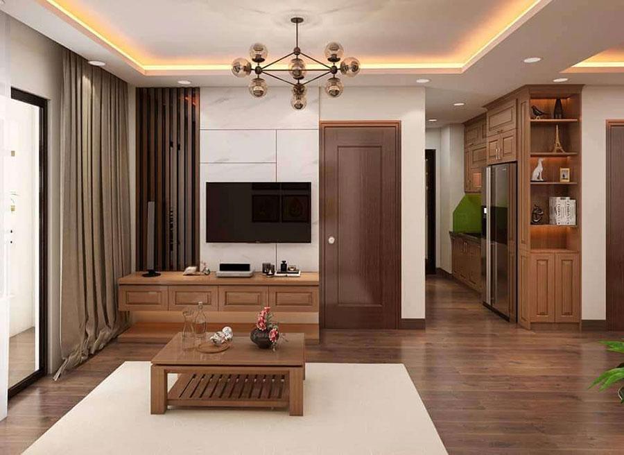 phòng khách 2 gỗ sồi