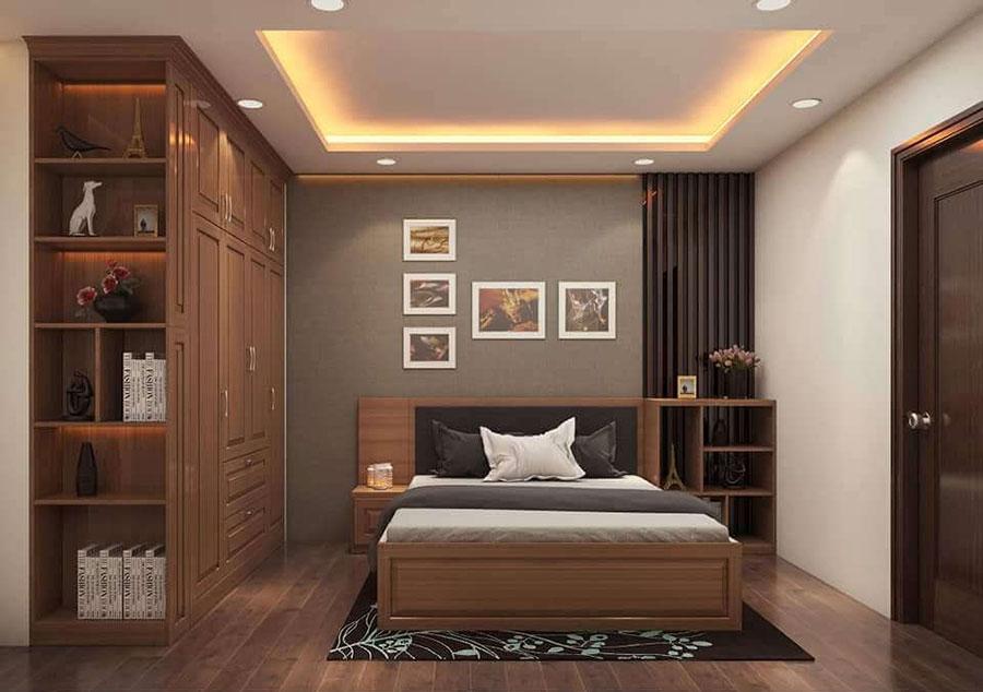 phòng ngủ 1 gỗ sồi