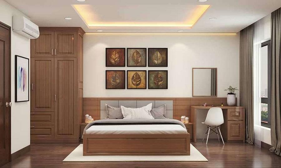 phòng ngủ 2 gỗ sồi