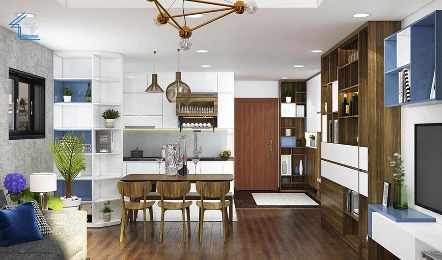 phòng bếp chung cư theo phong cách tự do