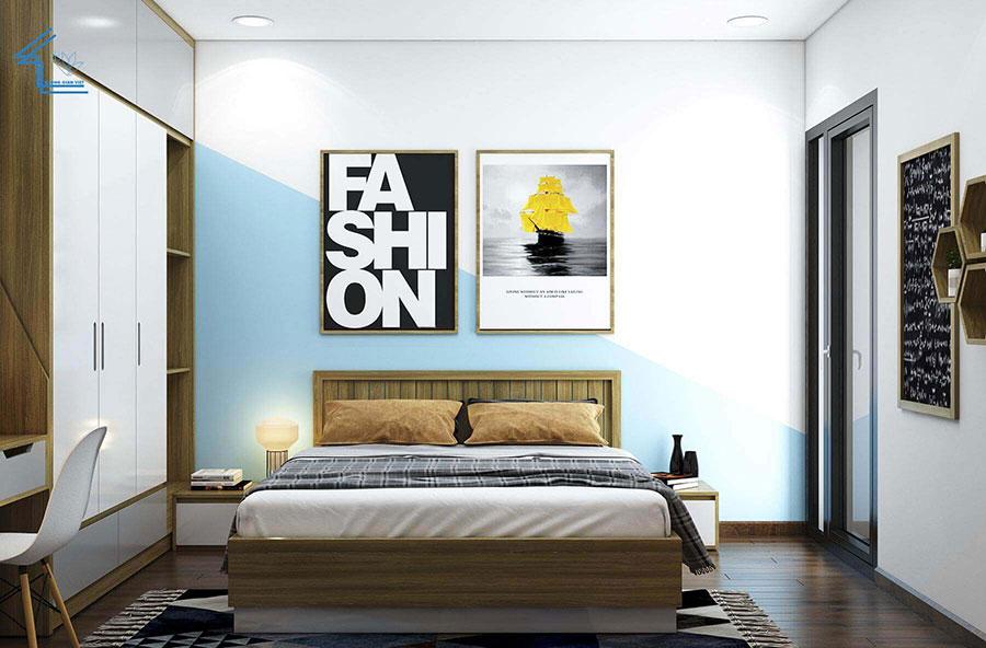 phòng ngủ chung cư 2 theo phong cách tự do