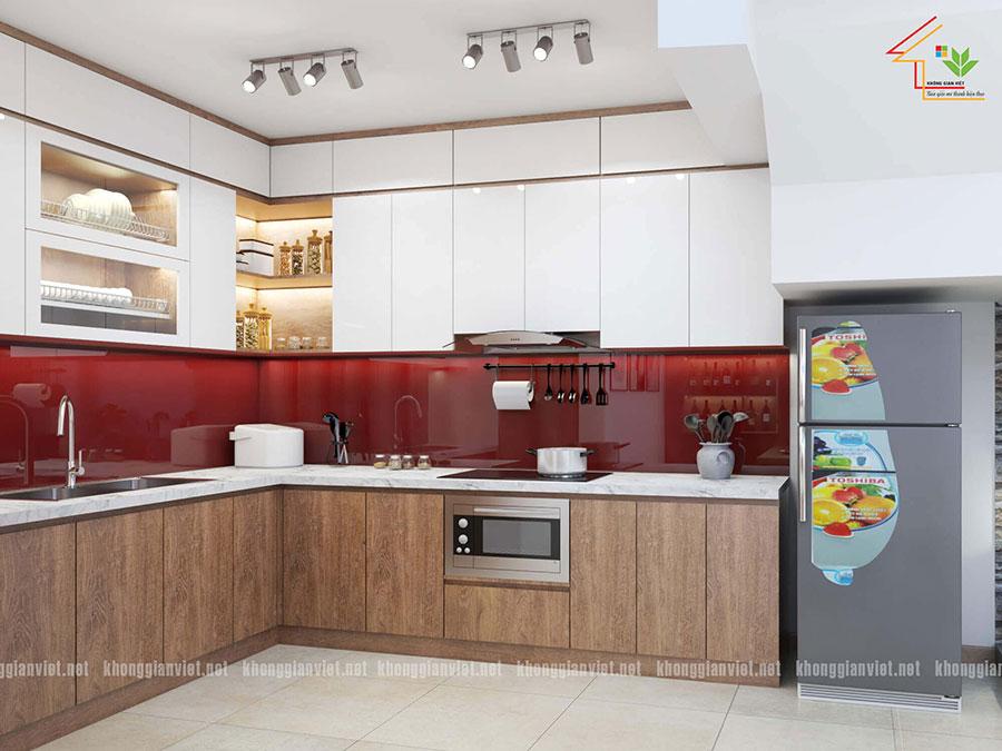 Nhà bếp được thiết kế tối giản nhưng vẫn đầy đủ tiện nghi