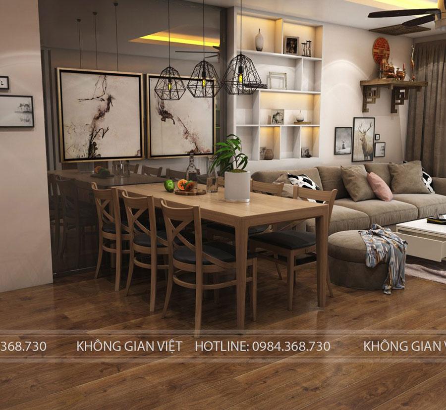phòng bếp và phòng khách liên thông