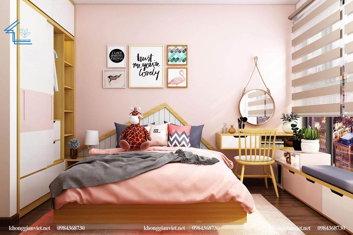 thiết kế nội thất chung cư 60m2 phòng ngủ thứ 2