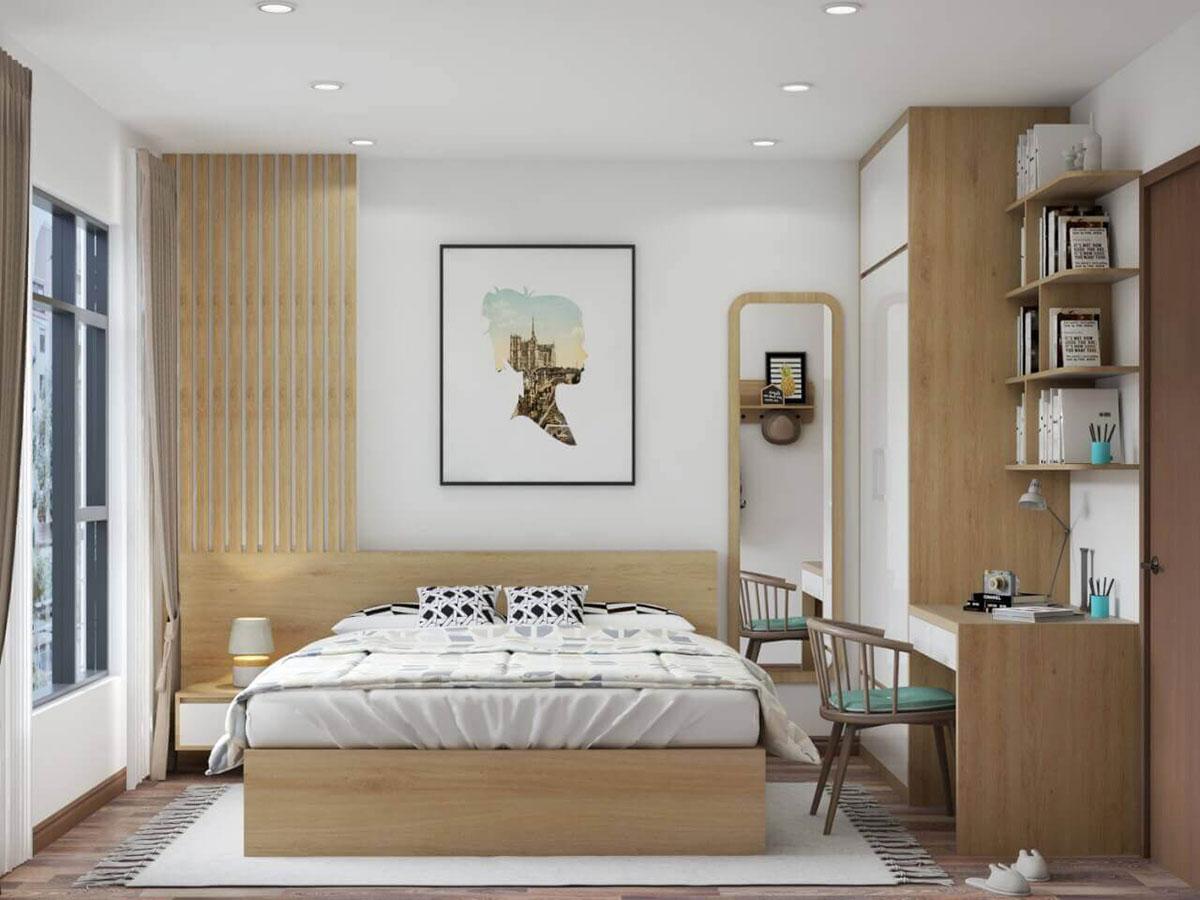 thiết kế nội thất phòng ngủ chung cư 50m2