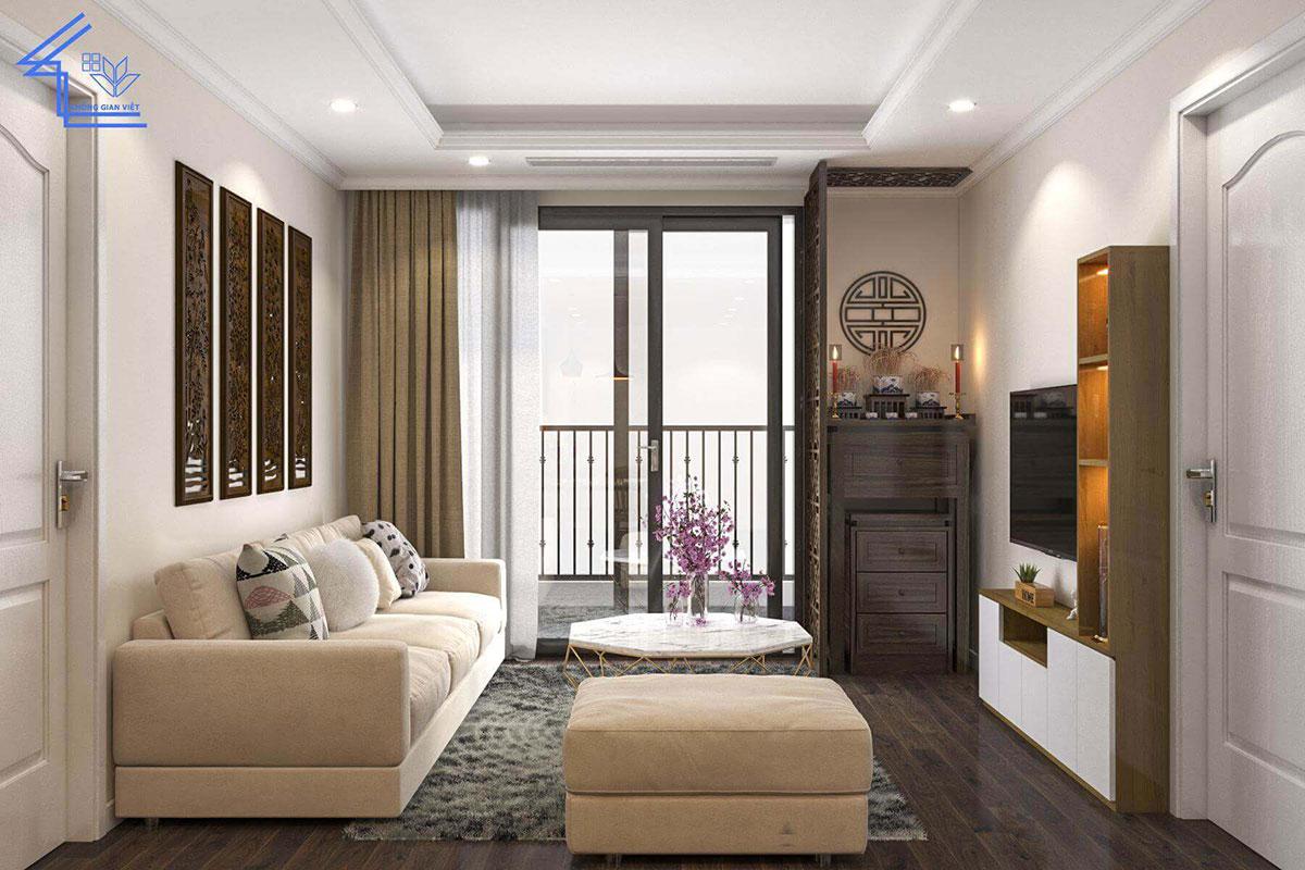 phòng khách chung cư hai phòng ngủ