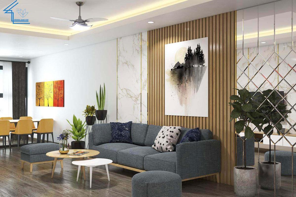 sofa chữ i màu trầm thiết kế sáng tạo