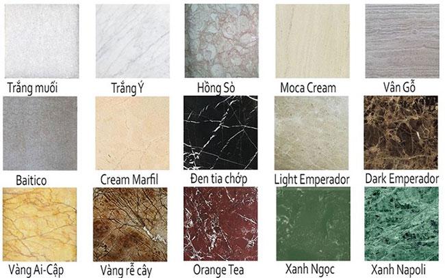 các mẫu đá marble