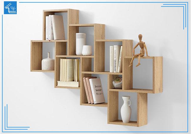 kệ sách gỗ treo tường