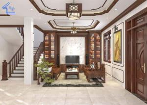 thiết kế nội thất phòng khách biệt thự chị Vân Anh thanh trì