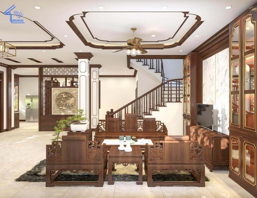 Màu cầu thang đồng bộ với phòng khách tạo cảm giác rộng rãi hơn