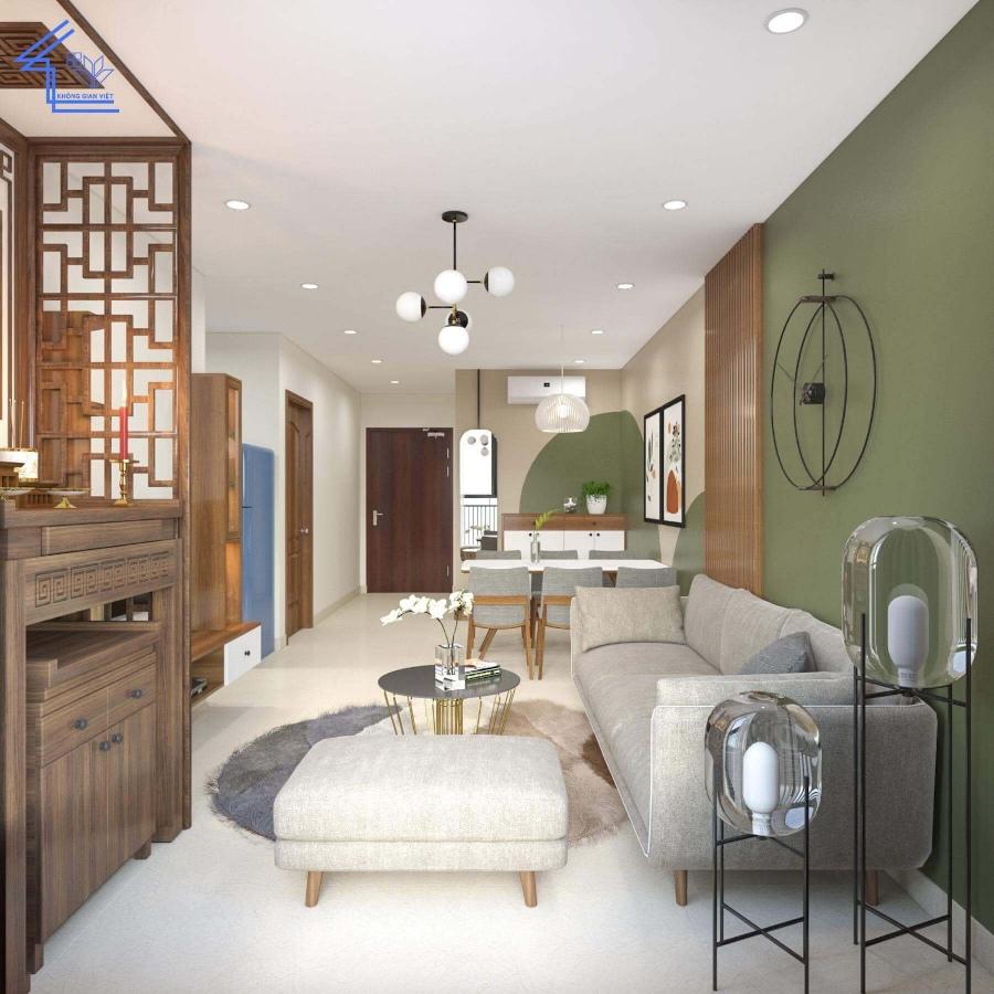 Mẫu phòng khách nhà ống có sự kết hợp nhiều màu sắc trung tính