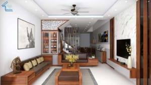 Ngôi nhà sử dụng màu gỗ tự nhiên, đơn giản mà vẫn tạo nên được điểm nhấn riêng