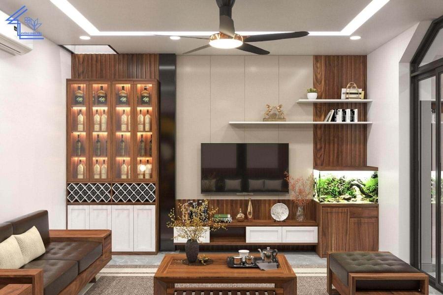 Từ bộ sofa, tủ rượu, kệ tivi đều có sự phối hợp hoàn hảo với nền và tường màu trắng